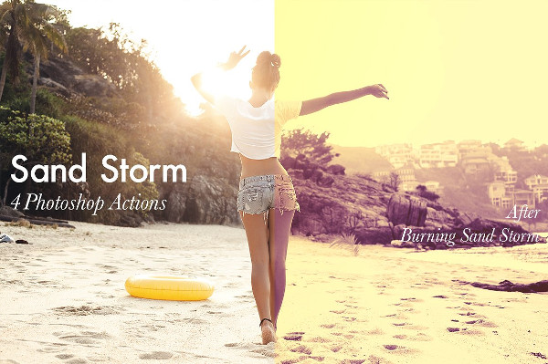 4 Burning Sand Storm Photoshop Actions
