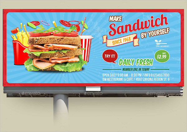 Sandwich Restaurant Billboard Template