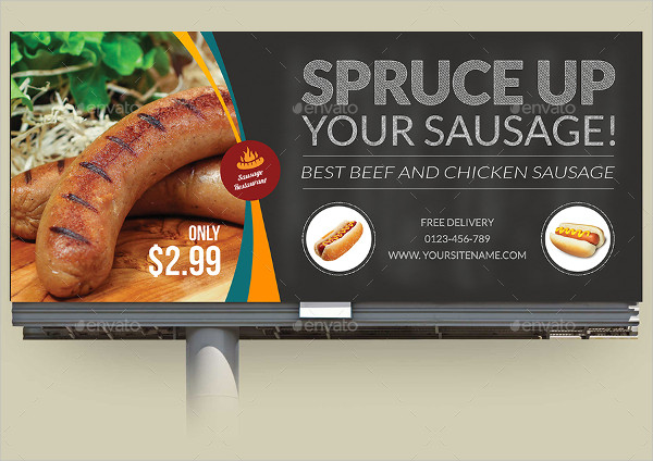 Sausage Restaurant Billboard Template