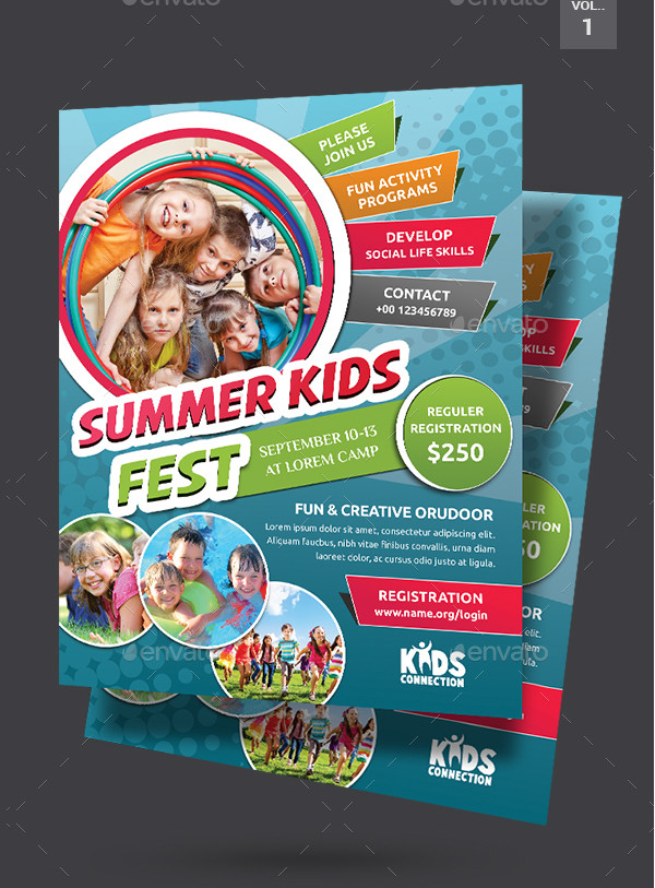 School Kids Summer Camp Flyer Design