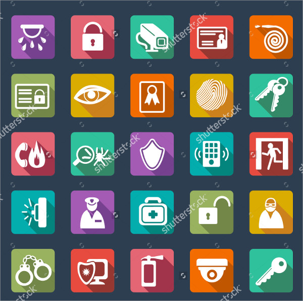 Flat Design Icons for Security