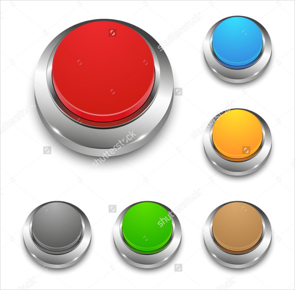 Set Colored Vector 3D Round Buttons