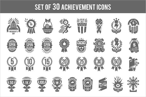 Set of Achievement Icons for Game Design