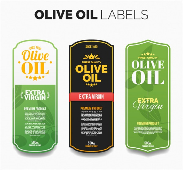 Free Several Oil labels with Color Details