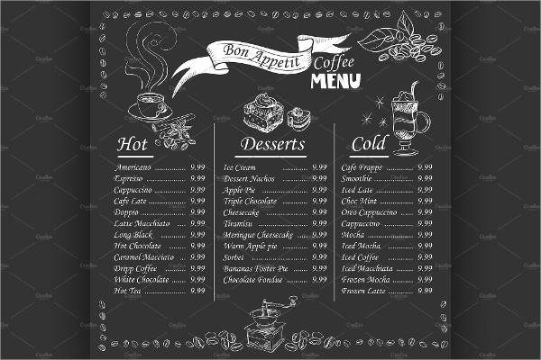 Coffee Shop Blackboard Menu Template