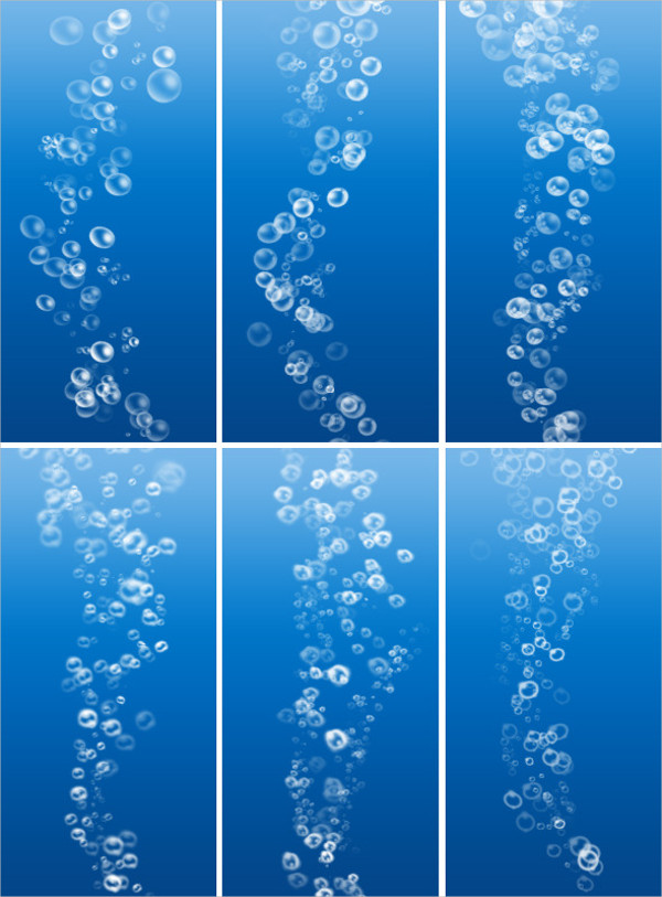 Six Realistic Flowing Bubbles Brushes