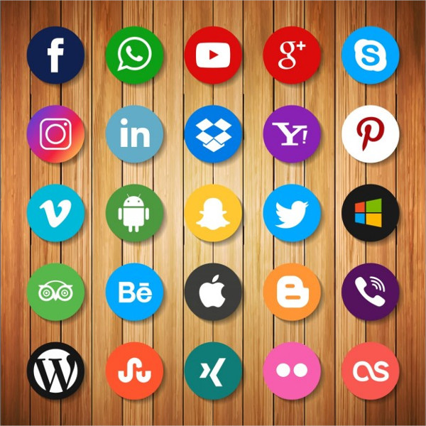 Social Networking Icons On Wood Free