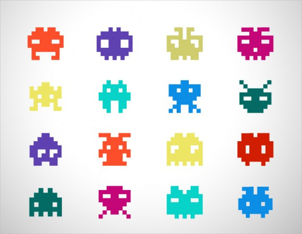 Space Invaders Icons Free Vector