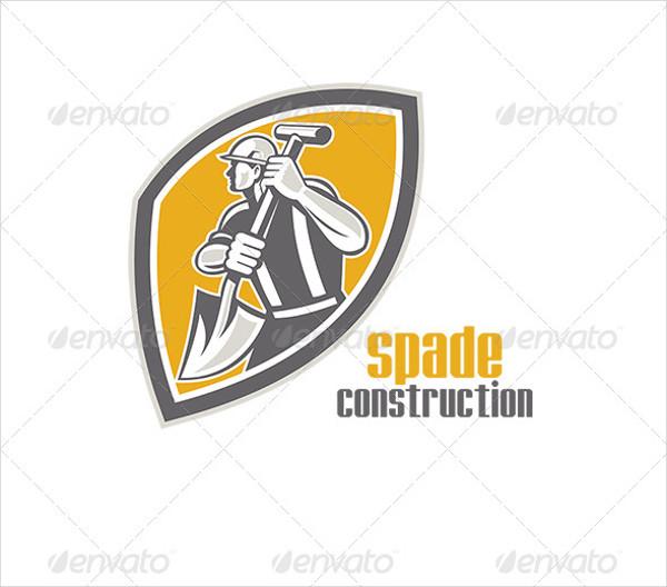 Spade Construction Worker Logo Template