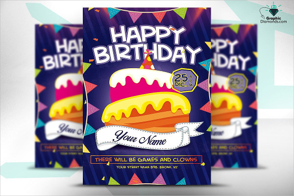 Spectacular Birthday Flyer Template for Children