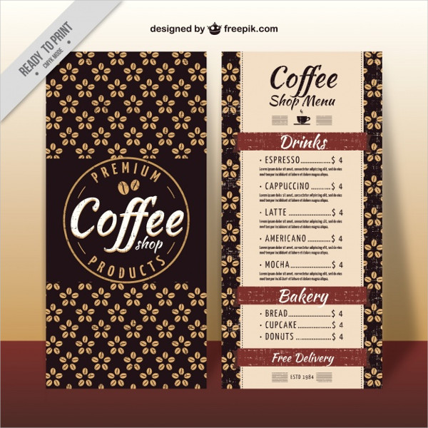 Floral Coffee Menu Template Free Download