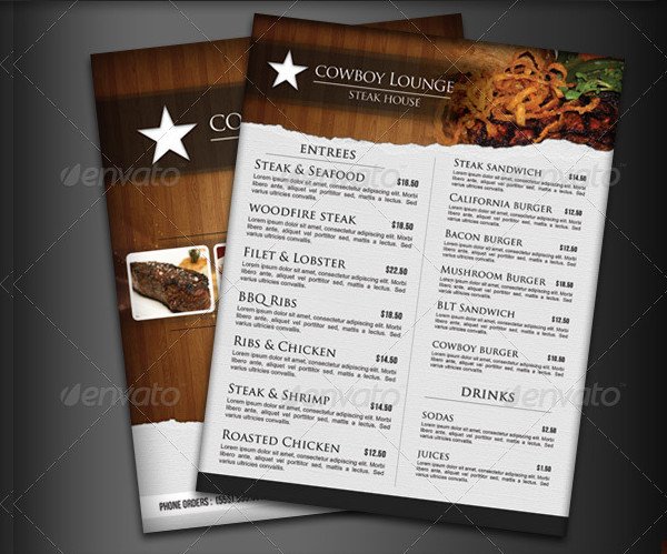 Steak House Menu Flyer Templates