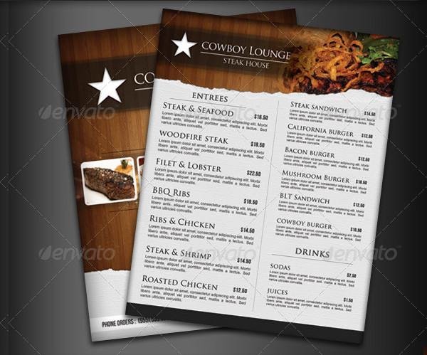 Steak House Menu Flyer Template