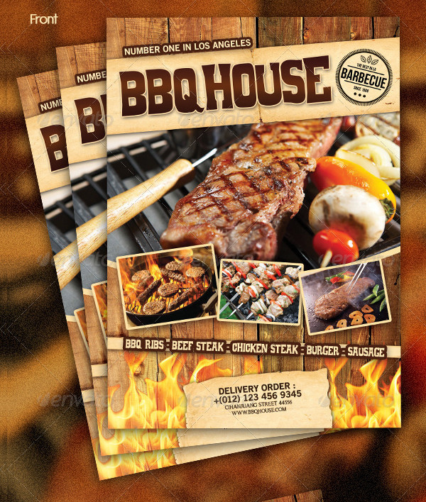 BBQ Menu Steak Flyer Templates