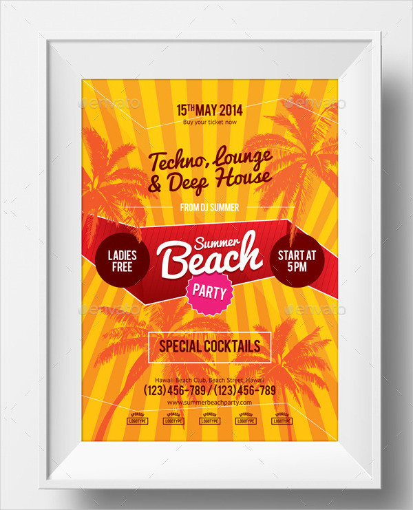 Summer Beach Party Advertising Poster