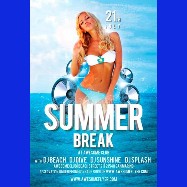 Summer Break Free Flyer Template