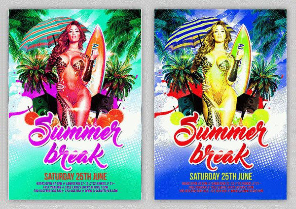 Free PSD Summer Break Break Flyer