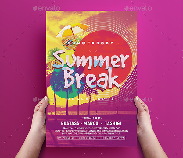 Summer Break Print Design Flyer
