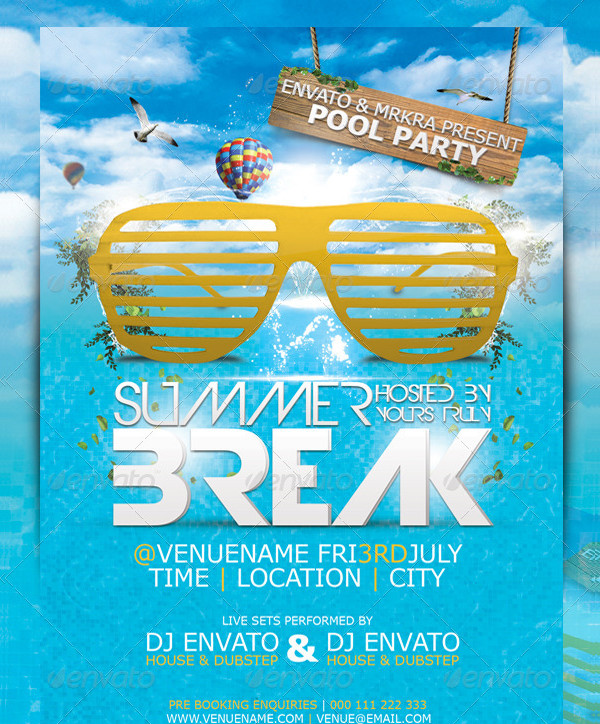 Summer Break Themed Party Flyer
