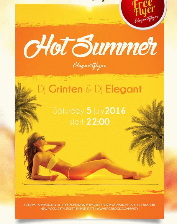 Hot Summer Free PSD Flyer