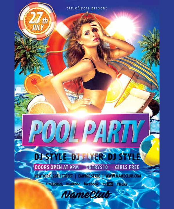Summer Pool Party Event Free Flyer Template