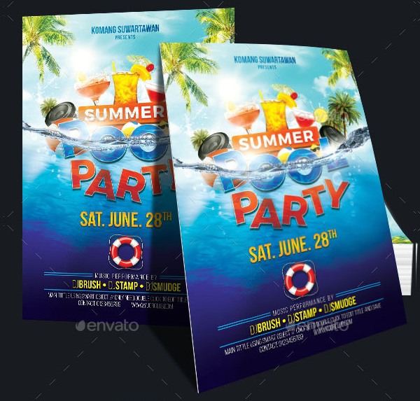 Editable Summer Pool Party Flyer Design