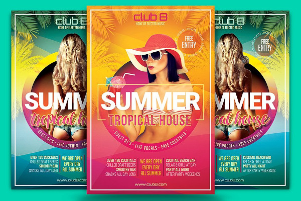 Summer Tropical House Flyer Template