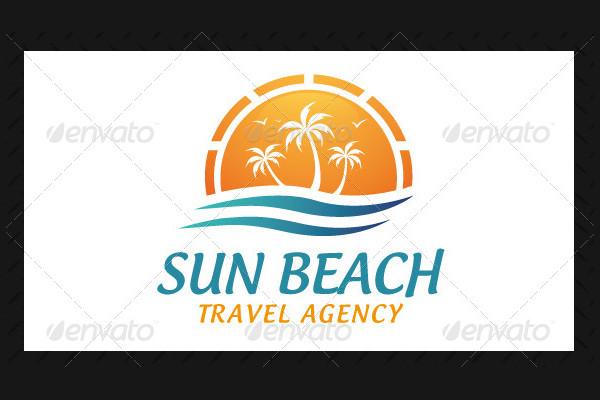 Sun Beach Travel Agency Logo Template