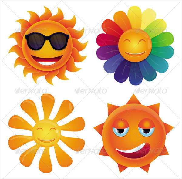 4 Vector Cartoon Sun Icons