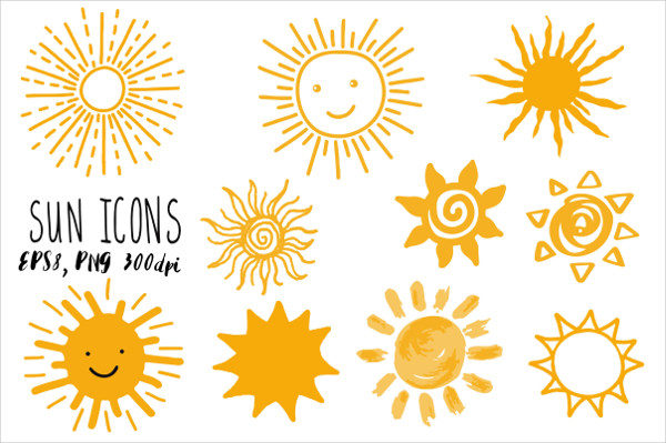 Doodle Sun Icons Illustration