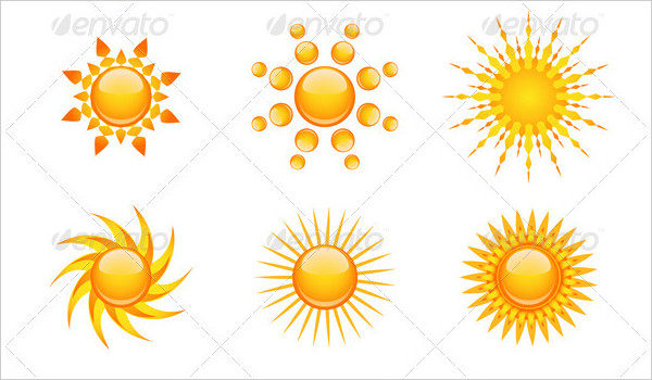 Vector Set of 9 Different Sun Design Icons