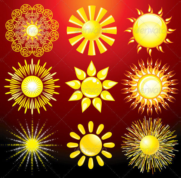 Decorative Sun Icons Vector Set