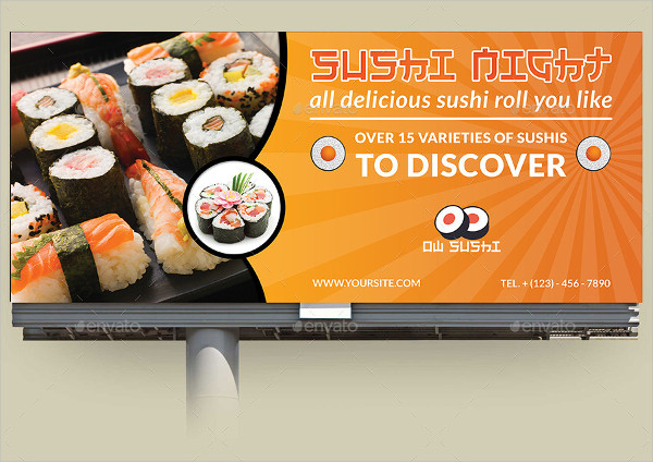 Sushi Restaurant Billboard Template