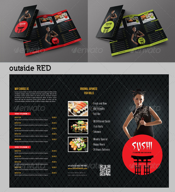 Sushi Restaurant Menu Templates Bundle