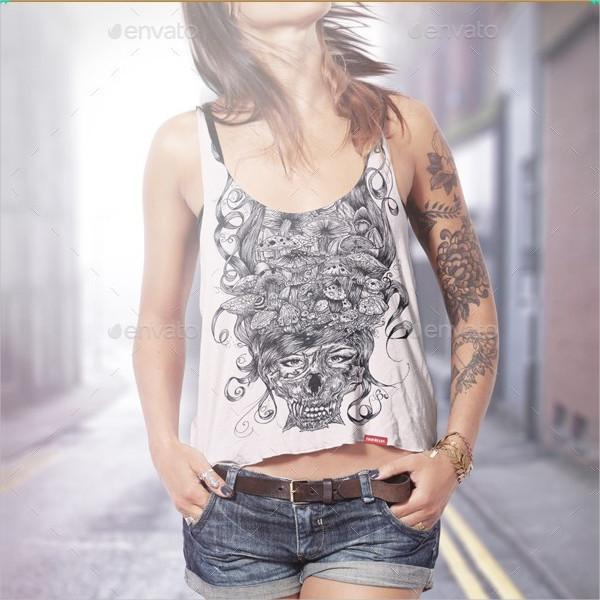 Tattooed Woman Tank Top Mock-Up