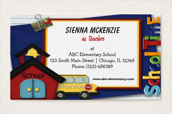 Elementary School Teacher Business Card