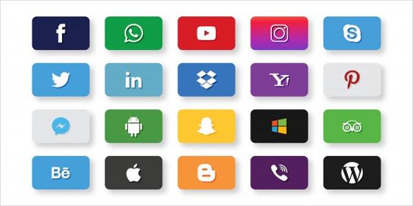 Set of Social Media Icons Free Vector