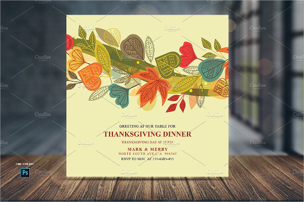 Attractive Thanksgiving Dinner Invitations Card