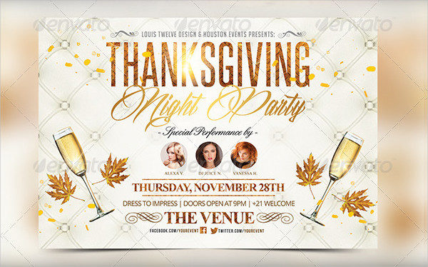 Thanksgiving Night Horizontal Flyer Template