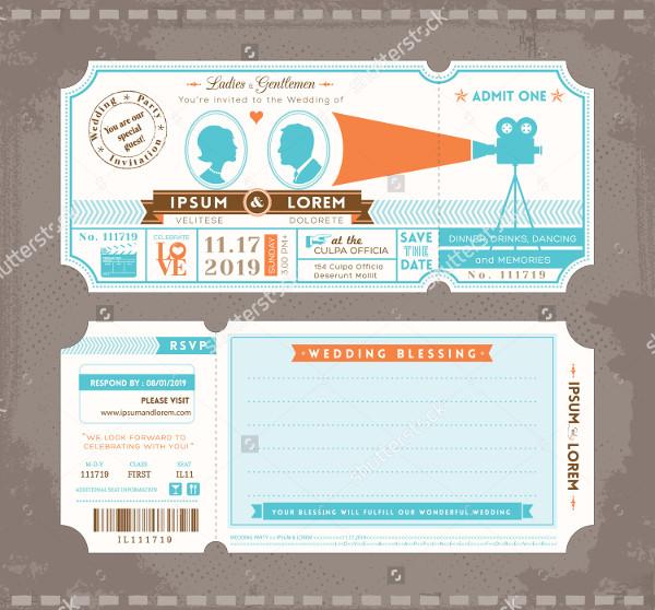 Movie Ticket Wedding Invitation Design