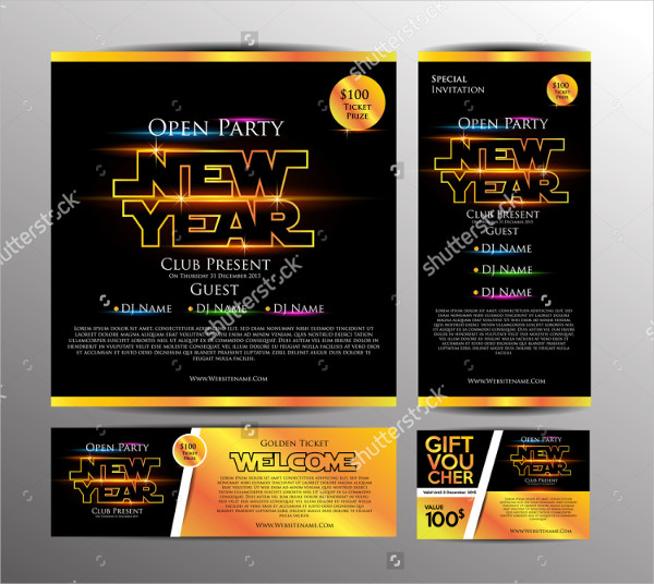 New Year Party Ticket Invitation Card Template