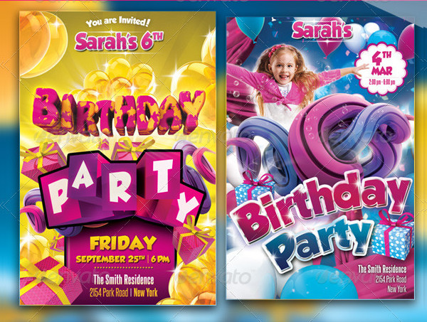 Top Kids Birthday Party Flyers Bundle
