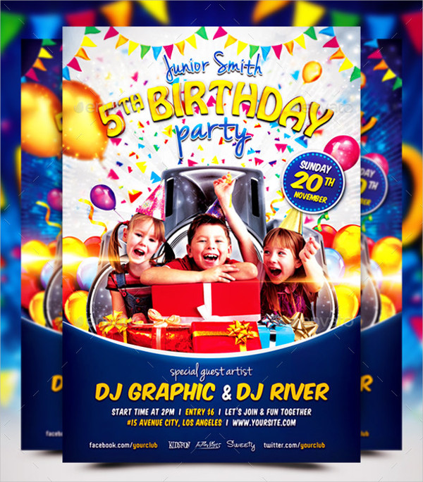 Trendy Kids Birthday Party Flyer Template