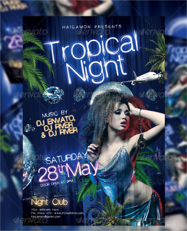 Tropical Night Party Flyer Template