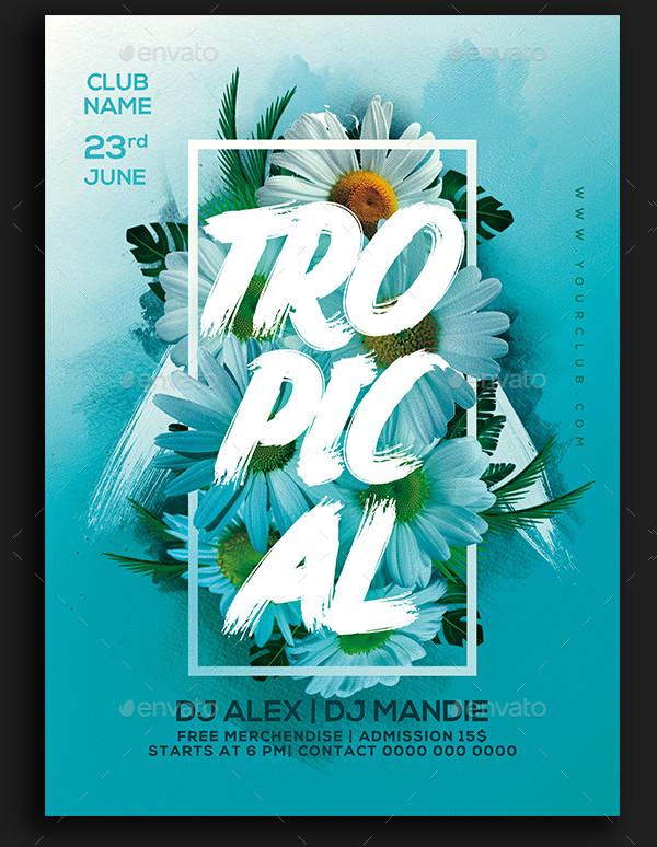 Unique Tropical Party Flyer Template