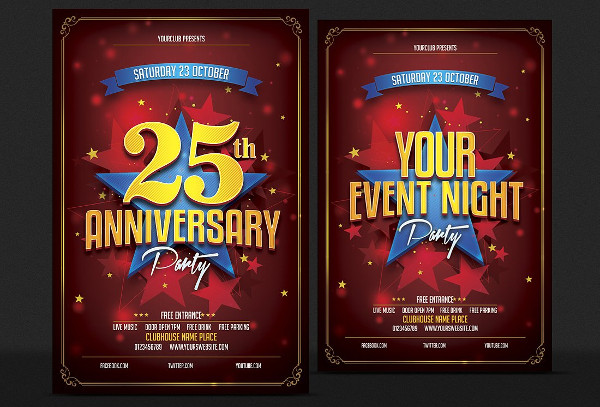 Unique Anniversary Party Flyer Template