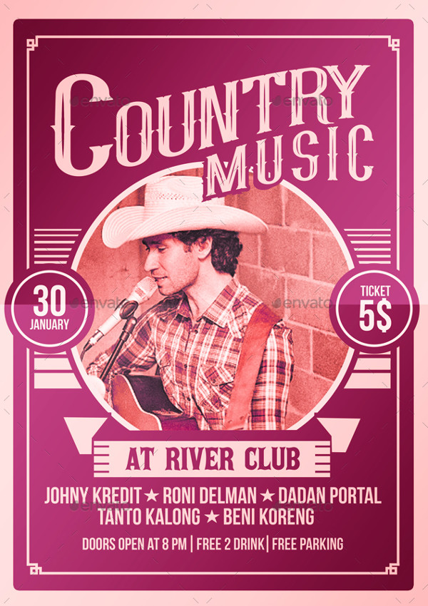 Unique Country Music Poster Flyer