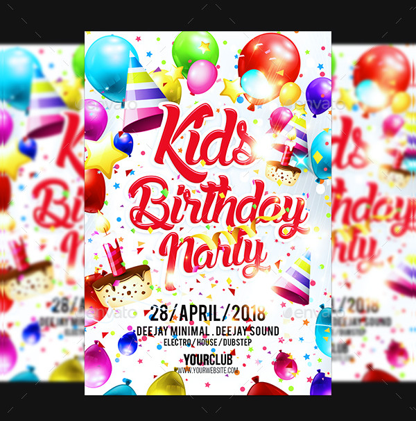 Unique Kids Birthday Party Flyer Template