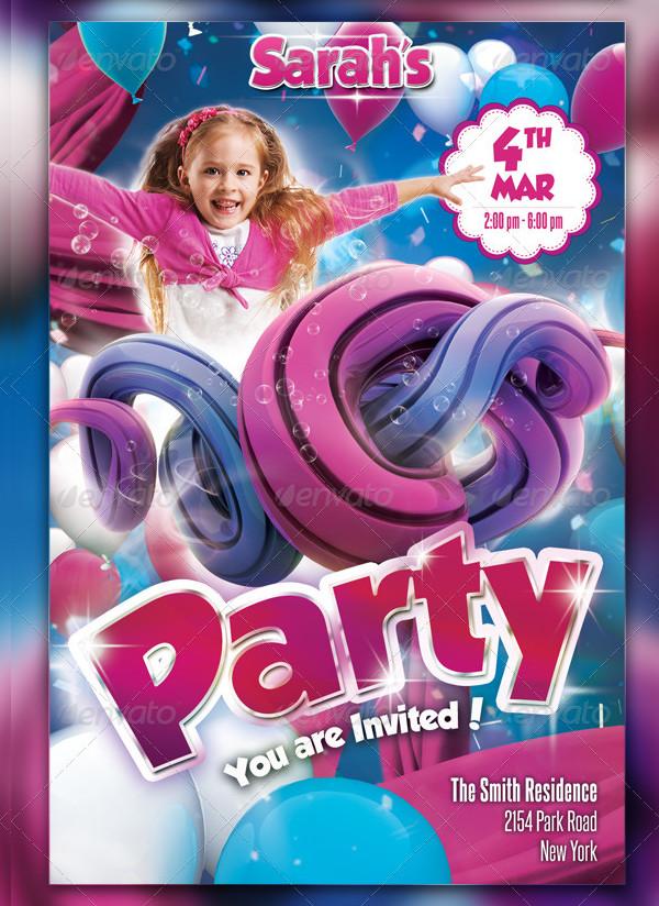 Unique Kids Party Flyer Template