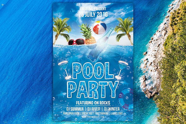 Vacation Pool Party Flyer Design